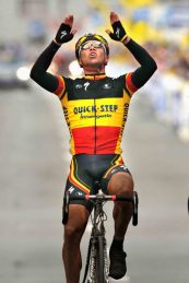 Cycling: Ronde Van Vlaanderen 2008 Arrival / Stijn DEVOLDER (Bel) Celebration Joie Vreugde / Brugge - Ninove (264 Km) Tour de Flandre / Tour of Flanders / (c)Tim De Waele